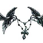 Novu d'encre tatouage Artiste de transfert de tatouage temporaire imperméable dessinée à la main Motif colombes et chapelet 18cm x 12cm de la marque Novu Ink image 4 produit