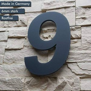 Numéro de maison 9(1-chiffres/26cm Paragraphe Hauteur) dans gris anthracite, en verre acrylique massif 6mm–Design Original alezzio–inoxydable, aux UV et lavable, anthracite comme Revêtement par poudre RAL 7016, avec matériel de montage et gabarits image 0 produit