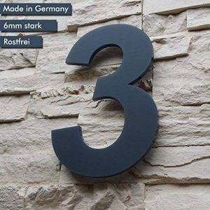 Numéro de maison 3(1/chiffres/26cm Cadran Dimensions (H x Lg x P)) Anthracite/gris, de massif 6mm en verre acrylique–Design original Alezzio–Inoxydable, résistant aux rayons UV et lavable, anthracite, revêtement poudre RAL 7016, avec matériel de mo image 0 produit