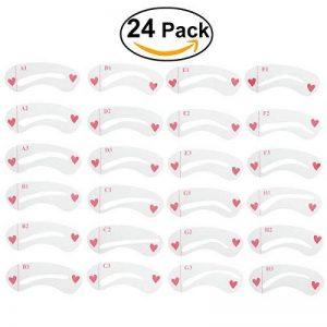 NUOLUX 24 pcs 8 set Pochoirs à Sourcils pochoirs sourcils toilettage Stencil Kit lissage modèles bricolage outils de la marque NUOLUX image 0 produit