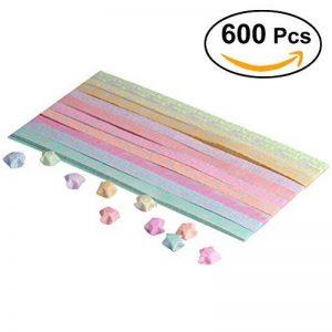 NUOLUX 600pcs Papiers Stars d'Origami Étoiles Pliage Papier Lumière Cinq Etoiles d'origami Bandes de Papier Origami (20 couleurs) de la marque NUOLUX image 0 produit