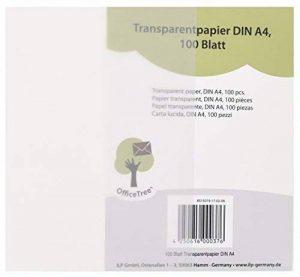 OfficeTree ® 100 feuilles de papier transparent DIN A4 - 100 g/m² qualité premium blanc - dessiner créer bricoler invitations de mariage cartes menus bons félicitations - impression recto-verso de la marque Office Tree image 0 produit