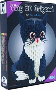 """Origami 3d Kit Chat/Cat 485 pZ. – Carton """"pre-segnato pour facile auto-réglable égal à 1/32 sur base A4 Plus DVD video-tutorial en italien et anglais – niveau difficile – Fabriqué en Italie de la marque Ying 3D Origami image 0 produit"""