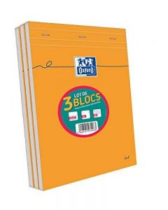 Oxford Lot de 3 Blocs Orange A4 agrafé non perforé 160 pages petits carreaux de la marque Oxford image 0 produit