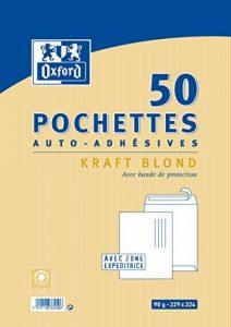 Oxford Pack de 50 pochettes auto-adhésives 229x324mm kraft blond de la marque Oxford image 0 produit