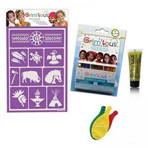 """Pack maquillage """"Indien"""" sans paraben: 1 Pochoir + 12 Crayons de maquillage + 1 Gel pailleté + 3 Ballons Blumie de la marque Blumie Shop image 0 produit"""