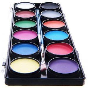 Palette de Maquillage pour enfants by Blue Squid | 12 Palettes de Face Painting Couleurs, 30 pochoirs, 3 pinceaux | Peinture de qualité professionnelle pour enfants et adultes | Haute qualité et non-toxique Ensemble de peinture à base d'eau vibrant | + Gu image 0 produit