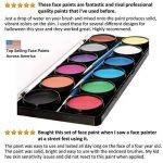 Palette de Maquillage pour enfants by Blue Squid | 12 Palettes de Face Painting Couleurs, 30 pochoirs, 3 pinceaux | Peinture de qualité professionnelle pour enfants et adultes | Haute qualité et non-toxique Ensemble de peinture à base d'eau vibrant | + Gu image 1 produit