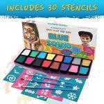 Palette de Maquillage pour enfants by Blue Squid | 16 Palettes de Face Painting Couleurs, 30 pochoirs, 3 pinceaux | Peinture de qualité professionnelle pour enfants et adultes | Haute qualité et non-toxique Ensemble de peinture à base d'eau vibrant | + Gu image 3 produit