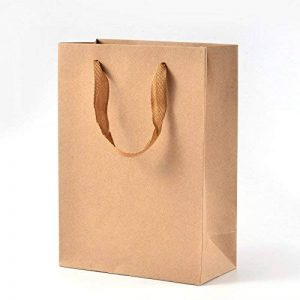 PandaHall - Lot de 10Pcs Sacs en Papier Kraft Pochette Cadeau Sacs à Provisions Rectangle Emballage Cadeaux avec Poignées en Fil de Nylon pour Fête Mariage Halloween Toussaint Noël, BurlyWood,16x12x5.7cm de la marque pandahall image 0 produit