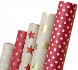 Papier cadeau rétro I A1250 I Papier cadeaux Anniversaires, mariages ou comme (Papier recyclé écologique 5 rouleaux) papier d'emballage pour les cadeaux de la marque autooptimierer.de image 0 produit