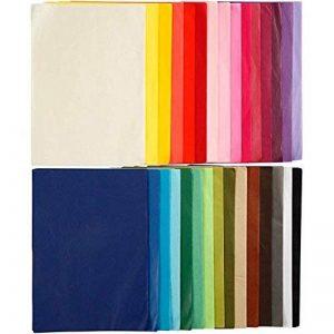Papier de soie assortiment, 21x 29,7cm (format A4), 300feuilles, 14 g10 feuilles de 30couleurs différentes de la marque Creavvee image 0 produit