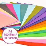 Papier de soie OfficeTree® 300 feuilles A4 - 20 coloris – des heures de bricolage, création et décoration en perspective – Papier pour esquisser et découper – qualité premium 16 g/m2 de la marque OfficeTree image 1 produit