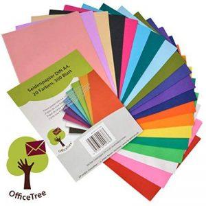 Papier de soie OfficeTree® 300 feuilles A4 - 20 coloris – des heures de bricolage, création et décoration en perspective – Papier pour esquisser et découper – qualité premium 16 g/m2 de la marque OfficeTree image 0 produit
