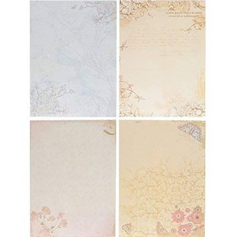 Zhi Jin 50/pcs romantique Fleur papeterie papier /à lettre Lettre papiers Pad Ensemble de cadeau pour une carte de voeux danniversaire Fleurs violettes