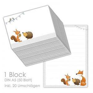 'Papier à lettres/Enveloppes Bloc Animaux de la forêt DIN A5(ligné 50feuilles) avec 20enveloppes/pour Set de papier à lettres, Papier à lettres enfants, de la marque emufarm® image 0 produit