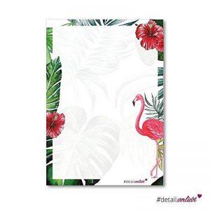 Papier à lettres Flamingo - DV_209 - format A4 - 50feuilles - Avec motifs rose et automne - Enveloppes non fournies - Pour invitation à l'anniversaire et à la Saint-Valentin de la marque #detailverliebt image 0 produit
