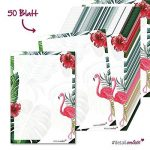 Papier à lettres Flamingo - DV_209 - format A4 - 50feuilles - Avec motifs rose et automne - Enveloppes non fournies - Pour invitation à l'anniversaire et à la Saint-Valentin de la marque #detailverliebt image 1 produit