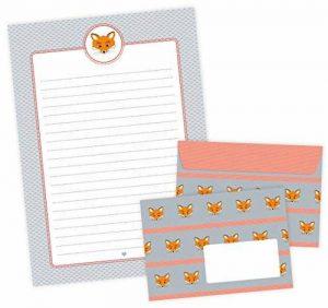 Papier à Lettres Lot de renard 22feuilles de papier à lettre A4+ 11Enveloppes C6avec Renard dans gris orange pour • LA Rentrée/Schlau renards de la marque Grußkarte mit Herz image 0 produit