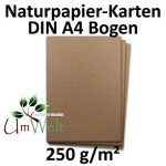 Papier naturel - papier écologique BROWN | DIN A4 | 50 feuilles | matériau très résistant - 250 g / m² - carton naturel - carton écologique - papier kraft | 210 x 297 mm | Idéal pour l'artisanat, cart de la marque Neuser image 1 produit