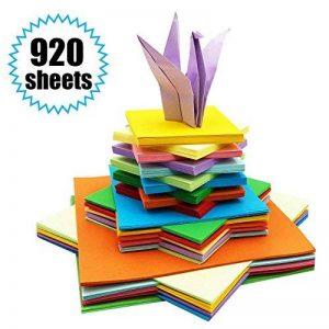 Papier Origami - 920 Feuilles d Origami Papier Couleur de Papier Origami Double Face 3 Tailles Pliage pour Origami Collection de 10 Couleurs Complémentaires Papiers Origami pour Enfants & Adultes de la marque PayFly image 0 produit
