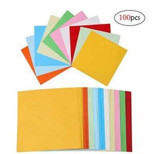 Papier Origami,Feuille Couleur 100 Couleurs Papier Feuilles carrées d'Origami Papier Coloré pour Bricolage Artisanat pour la Décoration de Fête de Jouets pour Enfants,10cm de la marque QH-Shop image 0 produit