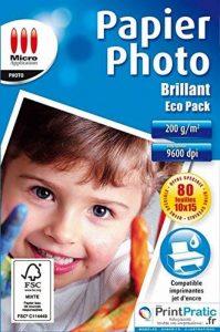Papier Photo Brillant 10x15 - Eco pack - 200 g/m² - 80 feuilles de la marque Micro Application image 0 produit