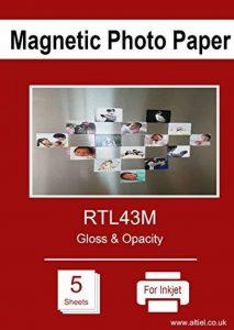 Papier photo magnétique A4pour imprimantes à jet d'encre, finition brillante, X 5feuilles de la marque RTL image 0 produit