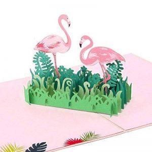 Papier Spiritz Flamingo Pop Up Carte d'anniversaire anniversaire toutes les occasions 3d Pop Up Cartes désherbage Thank You de la marque Paper Spiritz image 0 produit