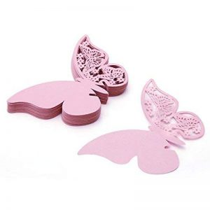 Papillon Mariage Cartes de placement, Lot de 100Verre de vin Tasse Découpe Laser Nom carte Décorations de table rose de la marque TJW image 0 produit