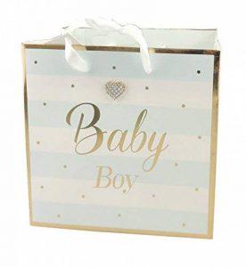 Pastel pour bébé fille garçon Doré taillé à rayures Baby Shower Sac de papier cadeau de baptême, bleu, Petit de la marque Glamour Girlz image 0 produit