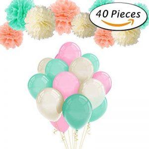 Paxcoo 40pcs Mint Peach Tissue Pom Poms Latex Balloons et Paper Garland pour les décorations pour fêtes de naissance de la marque PAXCOO image 0 produit