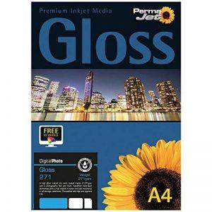 PermaJet 50814 Lot de 50 feuilles de papier brillant pour imprimante jet d'encre 271 g/m² Format A4 de la marque Permajet image 0 produit