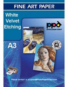 Photo paper direct a3 blanc-velvet etching papier pour imprimante à jet d'encre 270 g - 50 feuilles de la marque PPD image 0 produit
