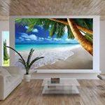 Photo papier peint de plage décoration de peinture murale de plage de rêve des Caraïbes nature de la baie de Paradis île de palme tropicale affiche de photos de décoration murale GREAT ART (336x238cm) de la marque GREAT ART image 1 produit