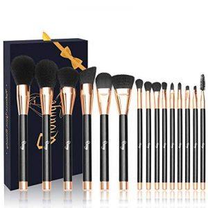 pinceaux maquillage, 15 Pcs Premium brosses cosmétiques avec soies synthétiques en bois poignée Foundation Eye Shadow Blush brosse à lèvres avec boîte-cadeau Qivange de la marque QIVANGE image 0 produit