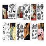 Pinkiou Tatouage Autocollants Dentelle Noire Autocollants pour Femmes Body Art Tatouage Temporaire (Lot de 6) de la marque Pinkiou image 1 produit