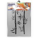 Pochoir branches de bambou - Pochoir en plastique - A3 42 x 29,7cm - Hauteur bambou 36 cm - Pochoir réutilisable, adapté aux enfants - Peinture, artisanat, mur, pâtisserie, meubles, pochoir de sol de la marque QBIX image 1 produit