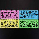 Pochoir de Dessin en Plastique Gabarits de Dessin pour les Enfants, 74 Formes, 24 Pièces de la marque Outus image 2 produit