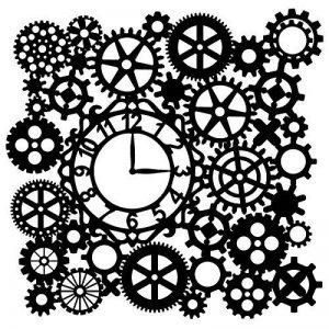 Pochoir de laser de Silhouettes, 28cm x 28cm, roues dentées avec horloge   créatifs mural conception, Textile, papier, scrapbooking de la marque Ideen mit Herz image 0 produit
