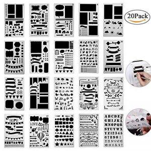 Pochoir à Dessin 20 Bullet Journal en Plastique, Guide de Lettres Pochoirs Forme Géométriques Planner Réutilisable Carte DIY Enfants Peinture pour Portable/Agenda/Scrapbooking/Art Projets 18x10.8cm de la marque Centtechi image 0 produit