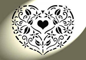 Pochoir en forme de cœur style Shabby Chic Vintage Petit détail Mylar. fleurs style rustique Format A4 297 Décoration murale x 210 mm de la marque Solitarydesign image 0 produit