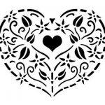 Pochoir en forme de cœur style Shabby Chic Vintage Petit détail Mylar. fleurs style rustique Format A4 297 Décoration murale x 210 mm de la marque Solitarydesign image 1 produit