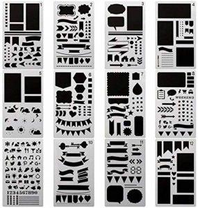 Pochoir Formes Géométriques(17.8*10.2 cm) Réutilisable Souple- Pour décorer votre Scrapbooking ou votre livre (12pcs) de la marque SuperHandwerk image 0 produit