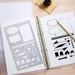 Pochoir Formes Géométriques(17.8*10.2 cm) Réutilisable Souple- Pour décorer votre Scrapbooking ou votre livre (12pcs) de la marque SuperHandwerk image 3 produit
