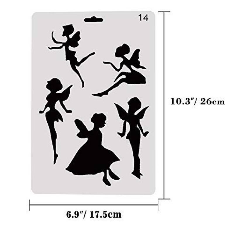 5/pcs en plastique r/éutilisables Pochoirs//////f/ée//34/x 34/cm /à 9/x 9/cm////enfants//de d/écoration de chambre//chambre denfant mod/èle.