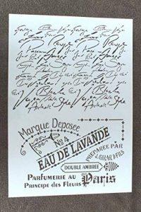 Pochoir plastique Format A4 style eau de Lavande, esprit provence et texte manuscrit de la marque Boutique d'isacrea image 0 produit