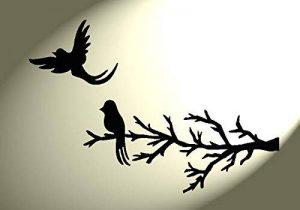 Pochoir Shabby Chic Motif oiseaux sur branche 2 en Mylar Vintage style rustique Format A4 297 x 210 mm (queues) Décoration murale de la marque Solitarydesign image 0 produit