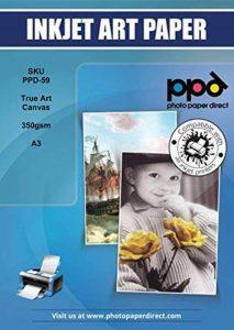 PPD A3 jet d'encre imprimable toile canvas véritable art 340g x 10 feuilles de la marque PPD image 0 produit