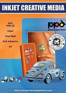 PPD A4 Inkjet (Jet d'encre) Creative Autocollants Vinyle Mat x 20 Feuilles PPD-38-20 de la marque Photo Paper Direct image 0 produit